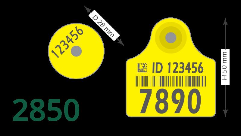 Boucle d'oreille 2850 pour l'identification animal, 10 paires (M+F)